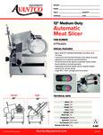 Avantco 177SL612A Automatic Meat Slicer Specsheet