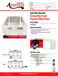 Avantco 177W50 Full Size Electric Countertop Food Warmer Specsheet