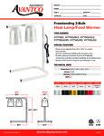 Avantco 177W62BLK Free Standing Heat Lamp - Food Warmer Specsheet