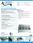 Avantco 360CPT28HC Countertop Refridgerated Prep Rail Specsheet