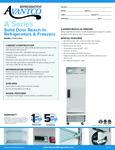 Avantco A-23F-HC 29 Solid Door Reach-In Freezer Specsheet