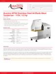 Avantco MT64 Stainless Steel 64 Blade Meat Tenderizer Spec Sheet