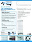 Avantco SS-1F-2-HC 29 Stainless Steel Solid Half Door Reach-In Freezer Specsheet
