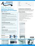 Avantco SS-1R-2-HC 29 Stainless Steel Solid Half Door Reach-In Refrigerator Specsheet