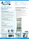 Avantco SS-1R-G-HC 29 Glass Door Reach-In Refrigerator Specsheet