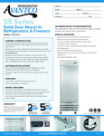 Avantco SS-1R-HC 29 Solid Door Reach-In Refrigerator Specsheet