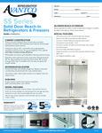 Avantco SS-2F-HC 54 Two Section Solid Door Reach-In Freezer Specsheet