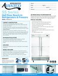 Avantco SS-2R-4-HC 54 Stainless Steel Solid Half Door Reach-In Refrigerator Specsheet