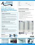 Avantco SS-3F-HC 80 7/8 Solid Door Reach-In Freezer Specsheet