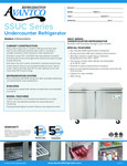 Avantco SS-UC-60R-HC 60 Undercounter Refrigerator Specsheet