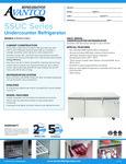 Avantco SS-UC-72R-HC 72 Undercounter Refrigerator Specsheet
