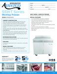 Avantco SS-WT-36F-HC 36 Two Door Worktop Freezer with 3 1-2 Backsplash Specsheet