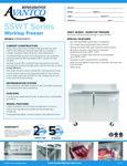 Avantco SS-WT-48F-HC Two Door Worktop Freezer with 3 1-2 Backsplash Specsheet