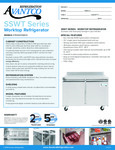 Avantco SS-WT-48R-HC 48 Two Door Worktop Refrigerator with 3 1-2 Backsplash Specsheet