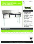 Regency 600S31015 Sink spec sheet