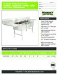 Regency 600S31824224 Sink spec sheet