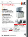CPG Commercial Range Series 351S36 6 Burner 1 Oven Spec Sheet