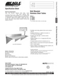 Eagle Group Wall Mount Work Tables Specsheet