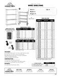 Advance Tabco Epoxy Green Wire Shelving Spec Sheet