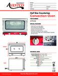 Half Size Countertop Convection Oven 177CO16 Specsheet