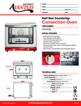 Half Size Countertop Covection Oven 177CO28 Specsheet