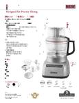 KitchenAid KFP0922 Spec Sheet