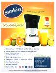 Sunkist Equipment Pro Series Juicer Spec Sheet