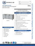 Spec Sheet for Beverage-Air UCR72AHC Undercounter Refrigerator