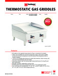 Spec Sheet for Cecilware Thermostatic Gas Griddles
