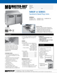 Spec Sheet for Master-Bilt MBSP-A Series Prep Tables