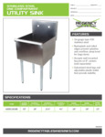 Spec Sheet for Regency Tables and Sinks 600S11818B Stainless Steel One Compartment Utility Sink