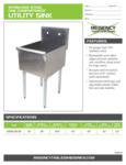 Spec SheetSpec Sheet for Regency Tables and Sinks 600S11821B Stainless Steel One Compartment Utility Sink
