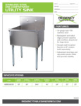 Spec Sheet for Regency Tables and Sinks 600S12421B Stainless Steel One Compartment Utility Sink