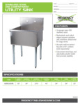 Spec Sheet for Regency Tables and Sinks 600S12424B Stainless Steel One Compartment Utility Sink