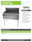 Spec Sheet for Regency Tables and Sinks 600S13624B Stainless Steel One Compartment Utility Sink