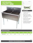 Spec Sheet for Regency Tables and Sinks 600S21821B Stainless Steel Two Compartment Utility Sink