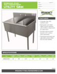 Spec SheetSpec Sheet for Regency Tables and Sinks 600S22424B Stainless Steel Two Compartment Utility Sink
