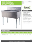 Spec Sheet for Regency Tables and Sinks 600S31221B Stainless Steel Three Compartment Utility Sink