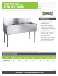 Spec Sheet for Regency Tables and Sinks 600S31621B Stainless Steel Three Compartment Utility Sink