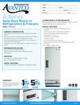 Specsheet for Avantco A12RHC Solid Door Reach-In Refrigerator