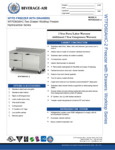 Specsheet for Beverage-Air WTFD60AHC-2-FIP One Door Two Drawer Worktop Freezer with Foamed-in-Place Backsplash
