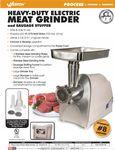 Weston 33-0201-W Heavy Duty #8 Electric Meat Grinder Spec Sheet