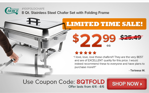 8 Qt. Stainless Steel Chafer Set with Folding Frame
