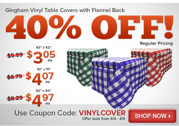 Gingham Vinyl Table Covers with Flannel Back