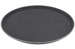 round 16 black non skid serving tray
