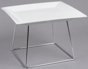 Featuring a bright white 12\  square Core china plate atop a 7\  stainless steel square display stand this set is sure to display your signature appetizers ... & Core 12\
