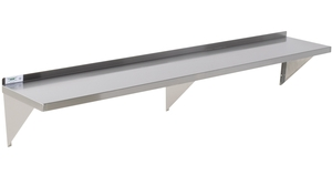 For a convenient storage option, check out the Regency 16 gauge stainless  steel 15 x 84 solid wall shelf.