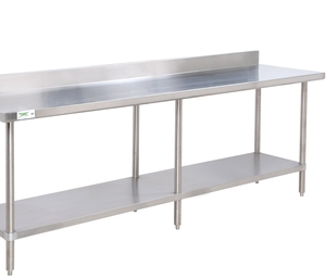 boasting all stainless steel construction and a backsplash this work table is a durable option for your restaurant cafe or bakery - Stainless Steel Work Table With Backsplash
