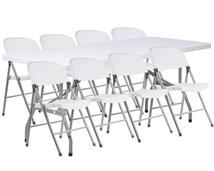 Lancaster Table Seating 30 X 72 Granite White Heavy Duty Blow Molded Plastic Folding Table With 8 White Folding Chairs
