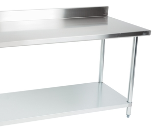 add a dependable work surface to your prep area with this regency 30 x 60 18 gauge 304 stainless steel commercial work table with a 4 backsplash